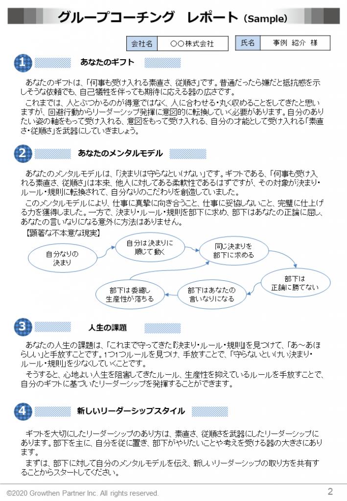 グループコーチング レポート例